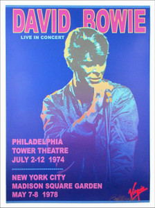 David Bowie Live In Concert Poster 1974 1978 Hand Signed Litho by Bob Masse