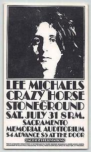 Lee Michaels Stoneground Handbill Memorial Auditorium Sacramento July 1971 MINT