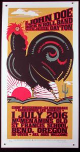 "John Doe RocknRoll Band Poster 2016 Signed Silkscreen Gary Houston 13 1/4"" x 26"""