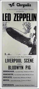Led Zeppelin 1969 British Tour Poster Interesting Reprint by Bob Masse