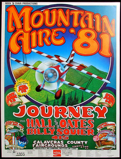 Mountain Aire Poster Journey Hall and Oates Billy Squier Angel's Camp 1981