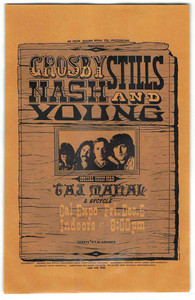 Crosby Stills Nash and Young Taj Mahal Original Handbill Cal Expo
