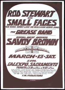 Rod Stewart Poster Small Faces Savoy Brown Orig Cal Expo Randy Tuten 1971