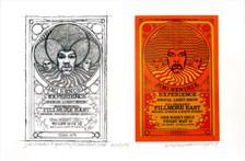 Jimi Hendrix Poster Fillmore East New Orig Image + Sketch Signed David Byrd