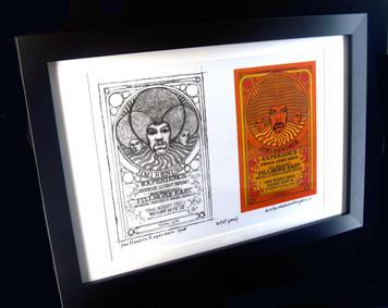 Jimi Hendrix '68 Fillmore East Poster New Artist Proof+Sketch Signed FRAMED