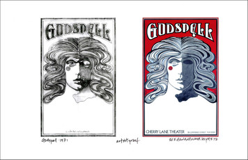 Godspell Poster New Original Image + Found Sketch A/P Signed by David Byrd