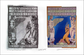 NEW YORK Art Deco Exposition Poster w Sketch Artist Proof Signed David Byrd