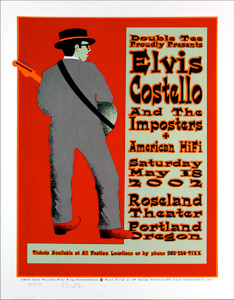 Elvis Costello Poster American Hi Fi Signed Silkscreen by Gary Houston
