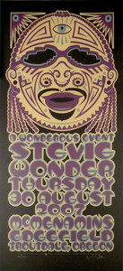 Stevie Wonder Tribal Portrait Signed Silkscreen Poster by Gary Houston