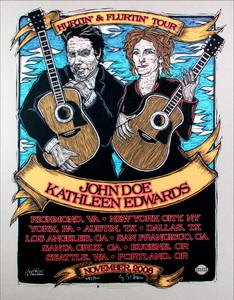 John Doe Kathleen Edwards Poster Original Signed Silkscreen by Gary houston