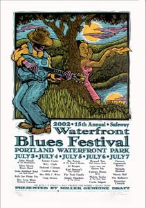 Waterfront Blues Festival 2002 Original Signed Silkscreen Concert Poster