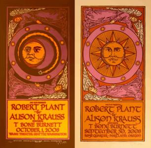 Robert Plant Allison Krauss Set of Two Signed Silkscreen Concert Posters