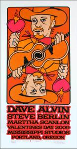 Dave Alvin & Steve Berlin Original Signed Silkscreen Concert Poster