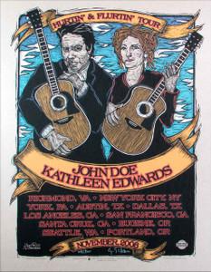 John Doe Kathleen Edwards Original Gig Tour Poster 2008 SN 300 Gary Houston