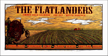 Flatlanders Poster Jimmie Dale Ely Butch Signed Silkscreen by Gary Houston