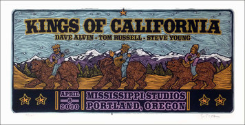 Kings of California Poster Dave Alvin Steve Young Original Signed Silkscree