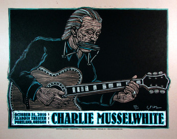 Charlie Musselwhite Poster Original Signed Silkscreen by Gary Houston