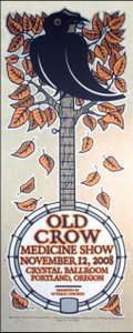 Old Crow Medicine Show Poster Signed Silkscreen by Gary Houston