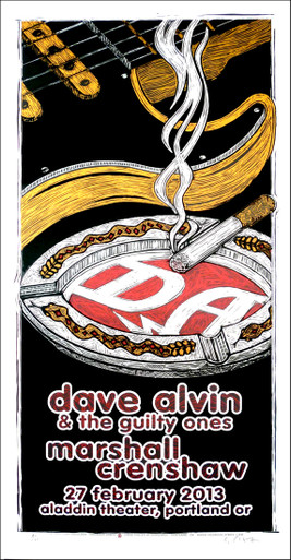 Dave Alvin & the Guilty Ones Original Signed Silkscreen Concert Poster
