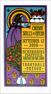 Crosby Stills & Nash Poster Original Signed Silkscreen by Gary Houston 2009