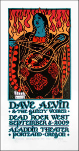 Dave Alvin & the Guilty Women Poster Signed Silkscreen Gary Houston 2009