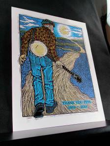 Pete Seeger Poster Thank You, Pete 1919-2014 Signed Silkscreen by Gary Hous
