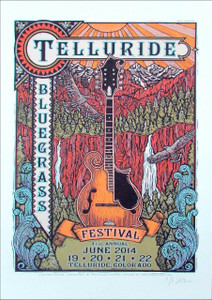 Telluride Bluegrass Festival Poster June '14 Signed Silkscreen Gary Houston