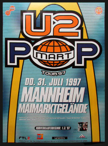 U2 Pop  Mart Tour Original German Subway Poster Mannheim Germany July 1997