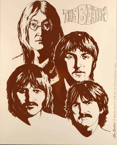 "Beatles ""Tan Portrait"" Rare Orig Poster by Collectors Features Tiberon 1974"
