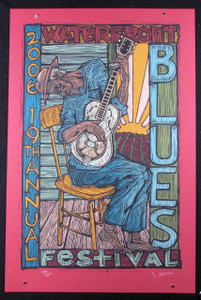 "2006 Waterfront Blues Fest Poster Hand-Signed Silkscreen Gary Houston 17"" x 26"""