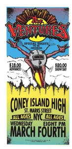The Ventures Original Poster Handbill Coney Island High 1998 Mark Arminski NM