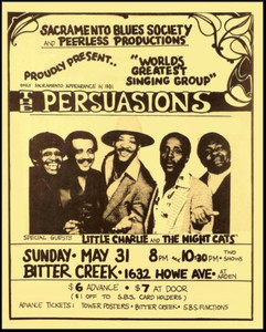 Persuasions Poster Flyer Little Charlie & Nightcats 1981 Bitter Creek Sacramento