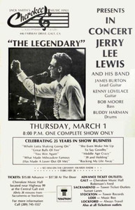 Jerry Lee Lewis & James Burton Poster Cherokee Music Hall Galt 1984 SHIPS FREE