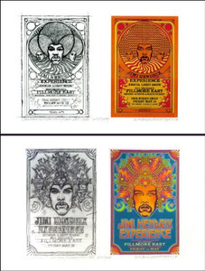 Jimi Hendrix At the Fillmore East 1968 2 Poster Set, Both with Original Concept Sketch & Hand-signed By Artist David Byrd Includes Annotated COA