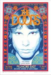 The Doors Fillmore East 1968 Poster New Commemorative AP Hand Signed David Byrd