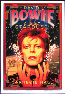 Honoring David Bowie at Carnegie Hall 1972 New Poster Hand Signed by David Byrd