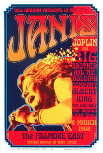 Honoring Janis Joplin at Fillmore East 1968 New Poster Hand-Signed by David Byrd