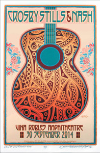 Crosby Stills & Nash Poster Vina Robles 2014 Original Print Signed by David Byrd