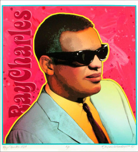 Ray Charles Poster Amazing Artist's Edition Portrait Hand-Signed by David Byrd