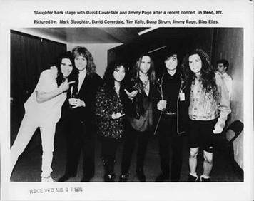 Slaughter Backstage w Jimmy Page David Coverdale Original 8x10 b&w Press Photo