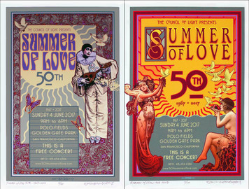 50th Anniversary Summer of Love 2 Poster SET 2017 Signed & Numbered David Byrd