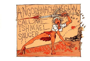Angora Machinegun Original Concert Poster s/n 153 Signed Paul Imagine 2006