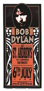 Bob Dylan Original Poster Handbill St. Andrews Detroit 1999 Mark Arminski NM