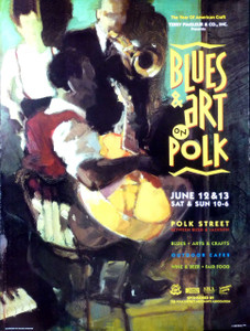 Blues Arts & Crafts Festival Poster Polk St San Francisco '93 Francis Livingston