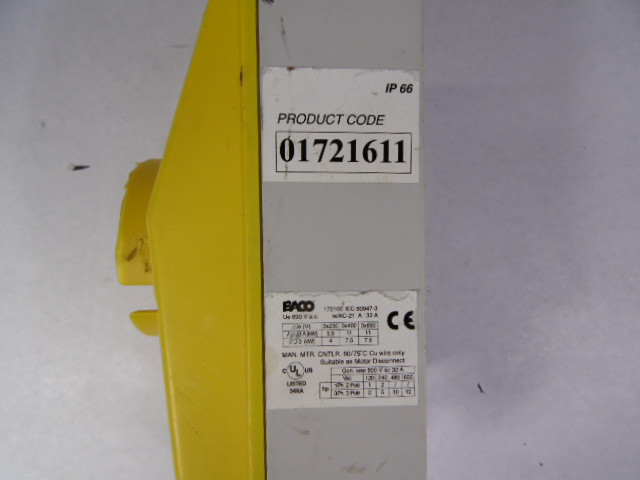 Baco 01721611 Motor Disconnect Switch 600v As Is