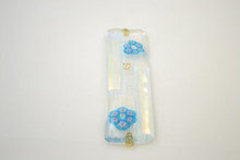 Mezuzah Two Flowers With Gold Fused Glass