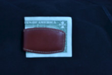 Money Clip Leather With Magnet and Brown Leather
