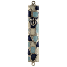 Blue Stained Glass Mezuzah
