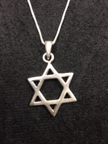 "Sterling  1"" Jewish Star Necklace"