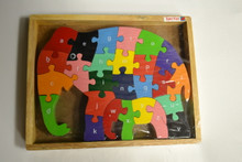 Wooden Elephant Puzzle in Frame